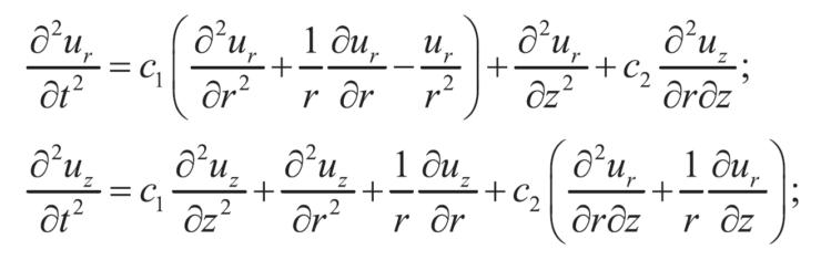 Компоненты тензоров напряжений и деформаций определяются из обобщенного закона Гука