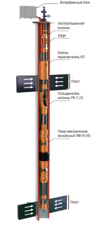 Рис. 10. КОУС-ПК-ОРД (КП) М для одновременно- раздельной добычи жидкости из двух пластов одним УЭЦН