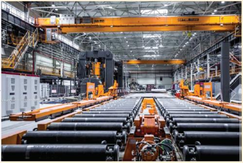Рис. 1. Производство рассчитано на выпуск прямошовных сварных труб диаметром 508-1422 мм, длиной до 12,2 м, из стали классом прочности до Х100
