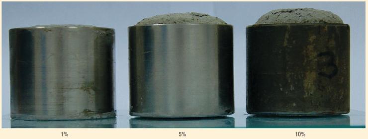 Рис. 2. Расширение тампонажного материала при различных содержаниях ДР-20
