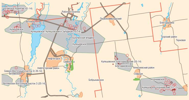 Рис. 1. Территориальная карта Кулешовского м/р