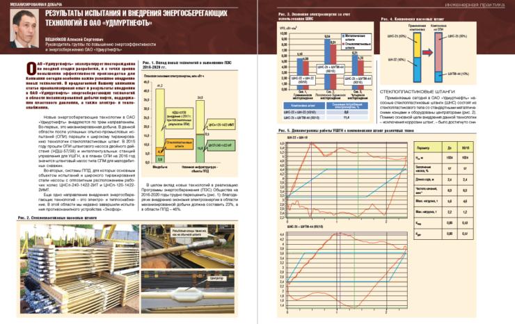 Результаты испытания и внедрения энергосберегающих технологий в ОАО «Удмуртнефть»