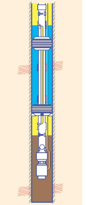 Рис. 3. Двухпакерная компоновка 2ПРОК-ИВЭГ для изоляции нарушения целостности эксплуатационной колонны