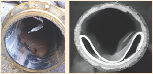 Рис. 5. Проявление «кессонного эффекта» при сбросе давления в двухслойной стеклопластиковой трубе
