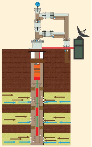Рис. 1. Технологии постоянного геофизического мониторинга (LWP) для скважин с УЭЦН – АПК «СПРУТ»