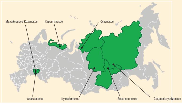 Рис. 1. Расположение объектов проектирования АО Гипровостокнефть
