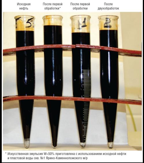 Рис. 5. Результаты воздействия равномерного электрического поля на предварительно обезвоженную нефть