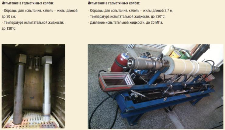 Рис. 6. Установки для испытания нефтепогружных кабелей на заводе АО Сибкабель