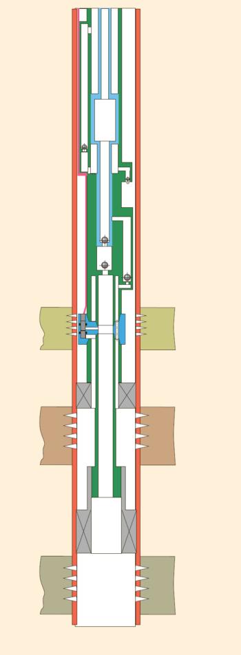 Рис. 10. Установка с дифференциальным насосом и полыми штангами для ОРЭ трех объектов полыми штангами для ОРЭ трех объектов