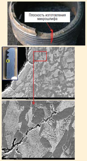 Рис. 10. Металлографические исследования в области очага разрушения