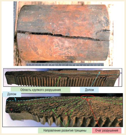Рис. 2. Характер разрушения муфты №14 после двух СПО и 56 сут эксплуатации