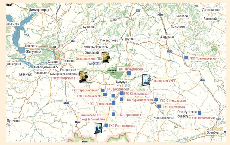 Рис. 1. Карта размещения площадных объектов подготовки и переработки газа