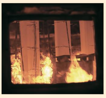 Рис. 11. Огневые испытания материала Pyrocrete 241