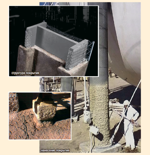 Рис. 12. Поверхность до и после нанесения материала Pyrocrete 241