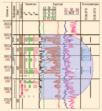 Рис. 13. Геологический разрез скважины №1448/89к