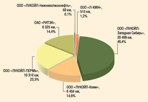 Рис. 2. Протяженность промысловых трубопроводов ПАО «ЛУКОЙЛ» в разрезе дочерних обществ
