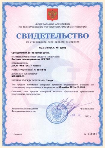 Рис. 2. Сертификат средства измерения