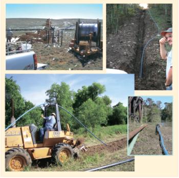 Рис. 2. Строительство наземного сборного нефтепродуктопровода с использованием труб Thermoflex