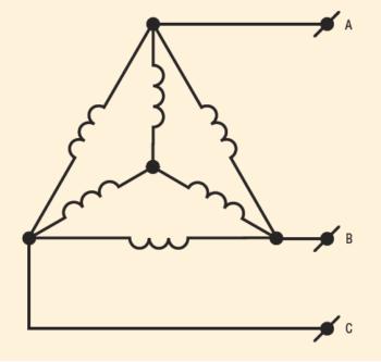 Рис. 3. Совмещение схем «звезда» и «треугольник» в одной обмотке