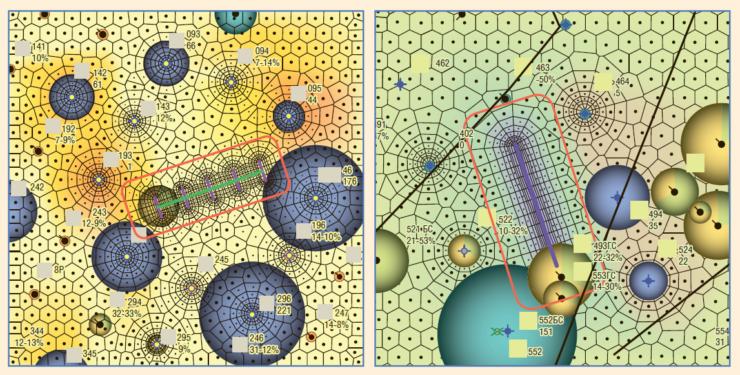 Рис. 3. Типичная ячейка заводнения с ГС+МГРП (слева – ГС с поперечными трещинами, справа – с продольными)