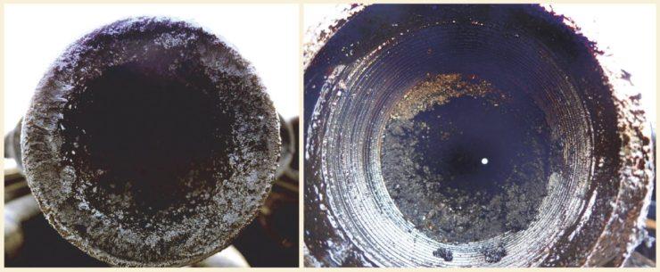 Рис. 4. Асфальтосмолопарафиновые отложения на стенках НКТ скважины №2 Среднеботуобинского НГКМ