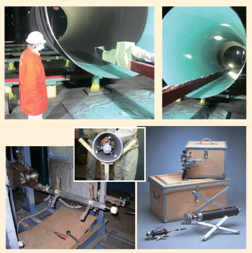 Рис. 5. Нанесение покрытия на внутреннюю поверхность трубы