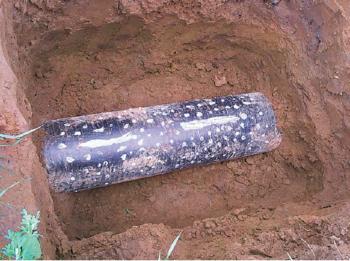 Рис. 8. Выявление участка с внутренней коррозией. Минимальная толщина стенки 6,5 мм, исходная толщина 8,0 мм