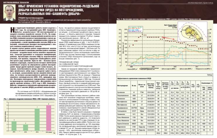 Опыт применения установок оодновременно-раздельной добычи и закачки (ОРДЗ) на месторождениях, разрабатываемых ООО «Башнефть-Добыча»