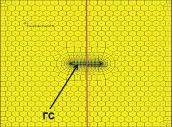 Рис. 4. Схема расчетной области и сетки численной многослойной модели системы скважина-пласт