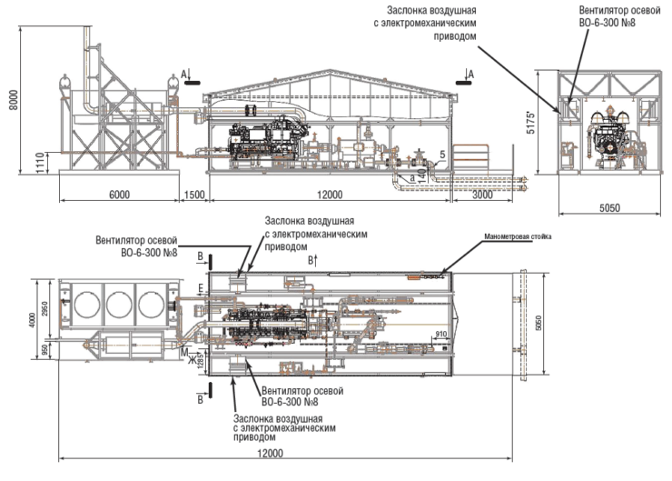 Рис. 5. Технологическая схема БКНС с газовым приводом на м Каракудук