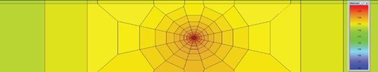 Рис. 5. Вертикальный разрез модели (распределение давления в начальный момент времени)
