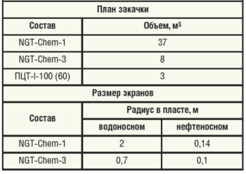 Таблица 1. Результаты расчетов экранов в программном модуле «Дизайн РИР» для скважины №3584 Саитовского м/р