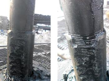 Рис. 2. Муфты НКТ, извлеченные из нагнетательной скважины с системой ОРЗ