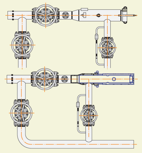 Рис. 3. Схема камеры пуска-приема очистных устройств с установленной вставкой-удлинителем