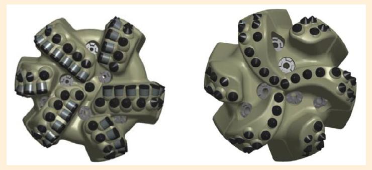 Рис. 3.2. Долота с вооружением из резцов PDC и CDE (слева) и только CDE (справа)