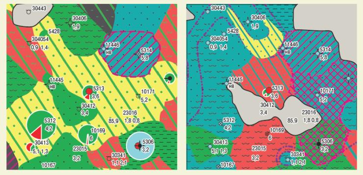 Рис. 4. Фрагмент карты разработки пластов Д1а, б2 по скважине №5313
