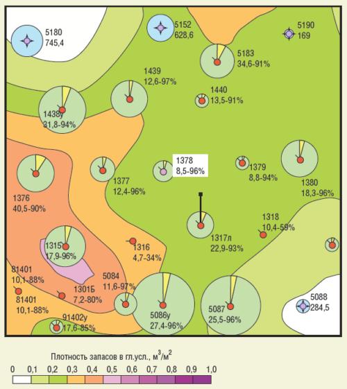 Рис. 4. Скважина №1378 на карте текущих извлекаемых запасов