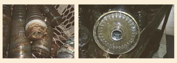 Рис. 6. Отложение солей в направляющих аппаратах установок ЭЦН с колесами из ЖКП