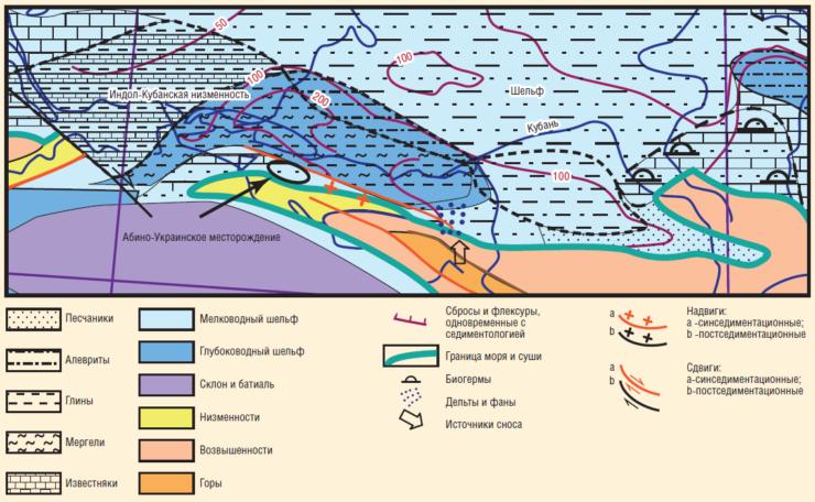 Рис. 3. Выкопировка из палеогеографической карты среднего сармата
