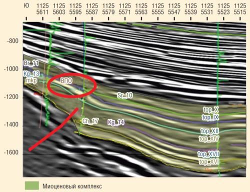 Рис. 4. Пример сейсмического разреза, проходящего через ВПО