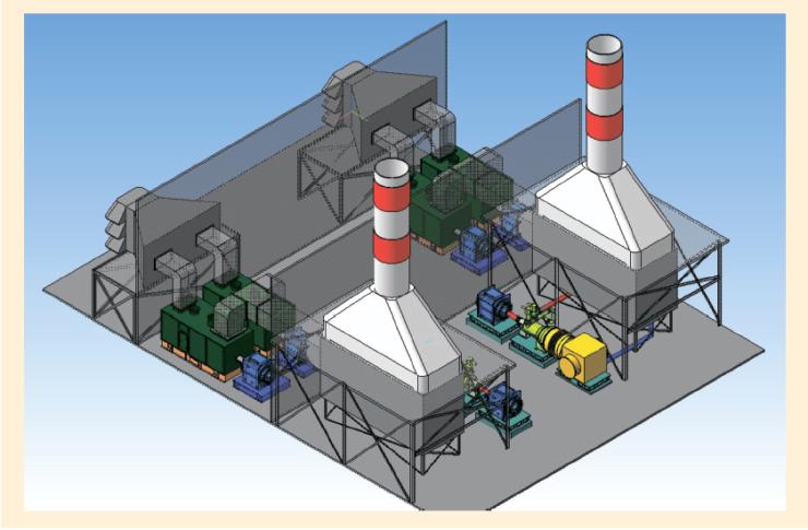 Рис. 10. Кластерная газотурбинная электростанция с утилизацией тепла мощностью 44 МВт