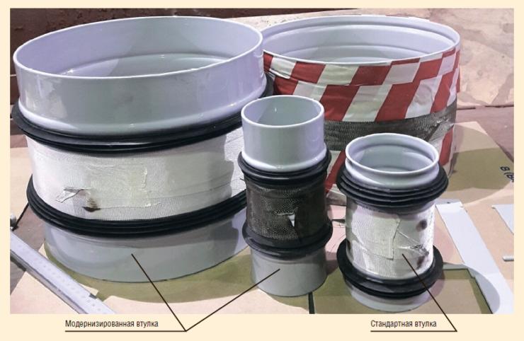 Рис. 2. Стандартная втулка (1) и модернизированная втулка (2)