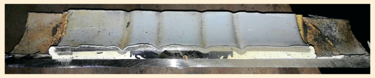Рис. 3. Вырезка сегмента модернизированной втулки после испытаний