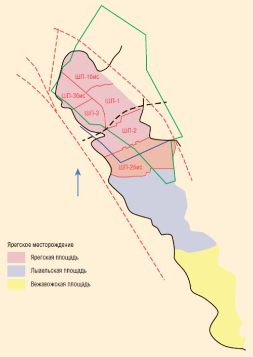 Рис. 1. Схема расположения площадей Ярегского месторождения