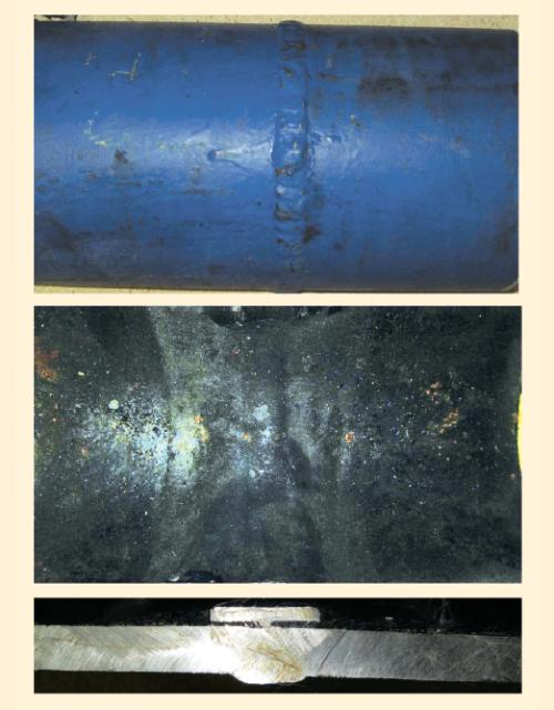 Рис. 10. Внешний вид фрагмента трубы из Ст. 20 с эмалированными концами, внутренним покрытием Amercoat 391 PC и защитой сварного шва подкладным эмалированным кольцом
