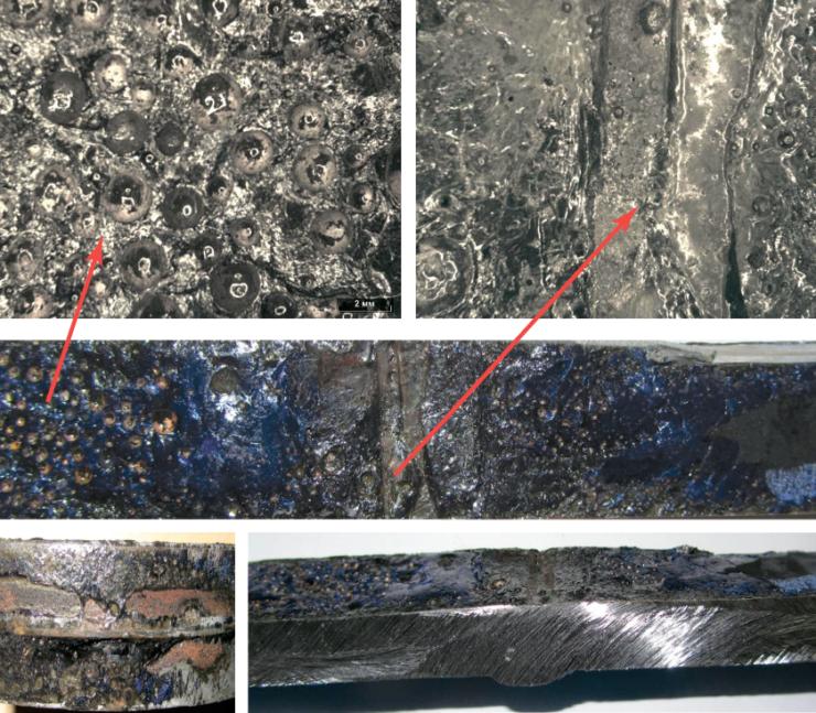 Рис. 14. Отслаивание подкладного кольца в зоне нанесения стеклоэмалевого покрытия МК-5У