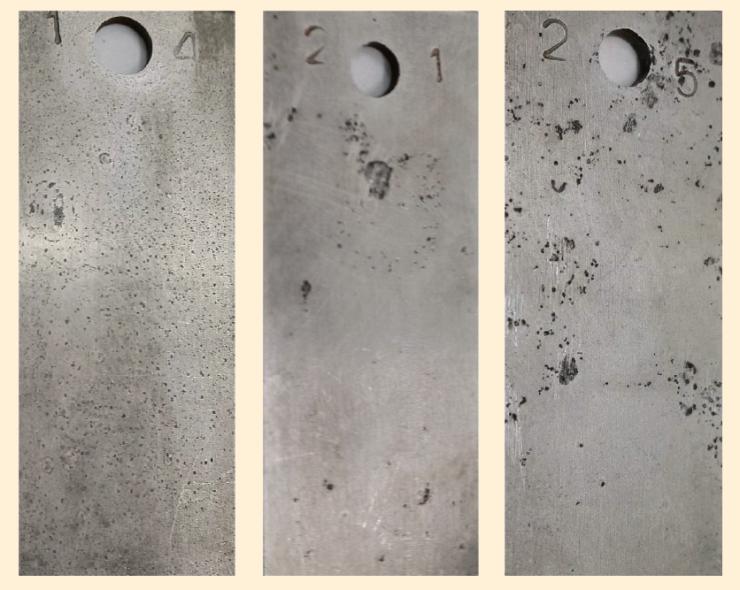 Рис. 2. Внешний вид образцов из стали после испытаний в условиях конденсации влаги в присутствии СО2