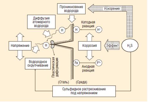 Рис. 1. Механизм процесса коррозионного растрескивания в сероводородной среде