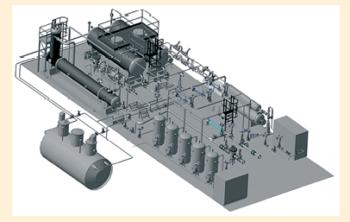 Рис. 12. 3D-модель площадки создания, разделения, очистки, подготовки и замера компонентов нефтегазовой смеси
