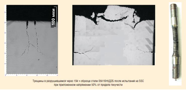 Рис. 6. Результаты испытаний высокопрочной нержавеющей стали 05Х16Н5Д2Б с мартенситно-аустенитной структурой